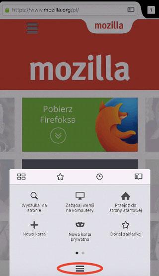 Firefox iOS - przycisk Menu