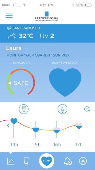 Screen z aplikacji mobilnej My UV Patch od L'Oreal