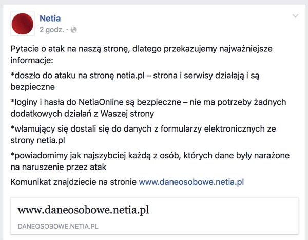 Netia wpis na profilu na Facebooku