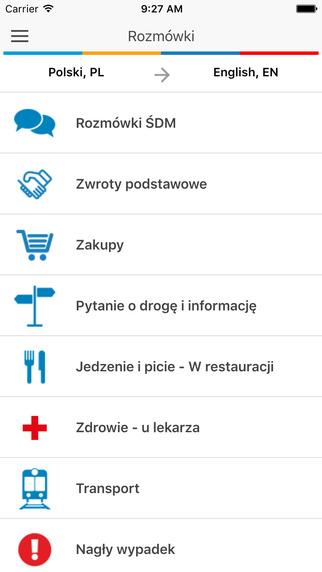 Screen aplikacji mobilnej Pielgrzym (ŚDM 2016 Kraków)
