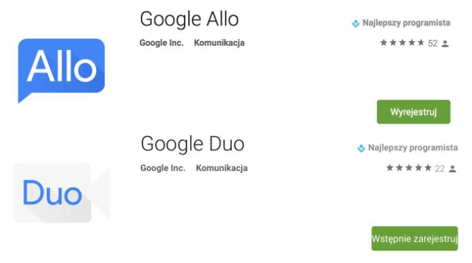 Aplikacje Google Allo i Duo w sklepie Google Play (screen ikon)