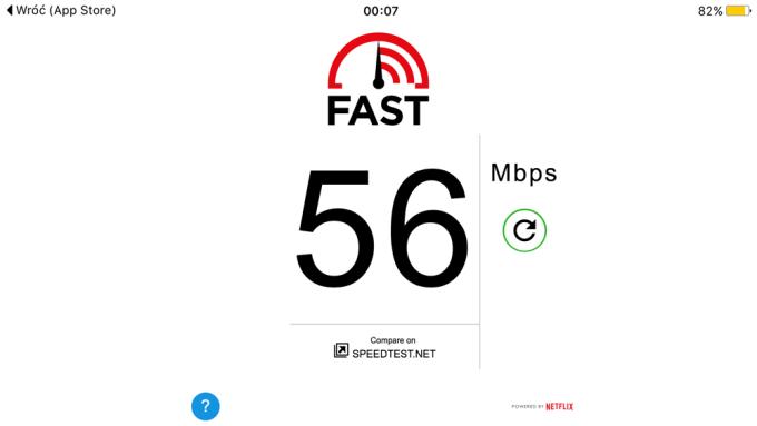 Screen z aplikacj FAST Speed Test od Netflixa (iPhone)