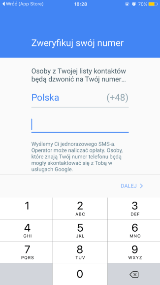 Weryfikacja numeru w aplikacji Duo