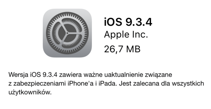iOS 9.3.4 OTA - update