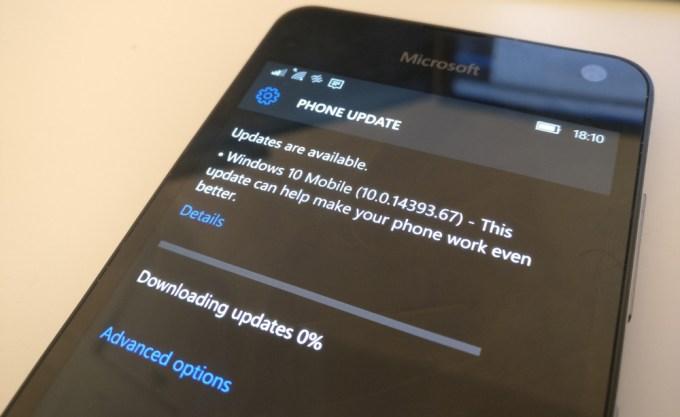 Microsoft Windows 10 Mobile Anniversary Update (build 10.0.14393.67)