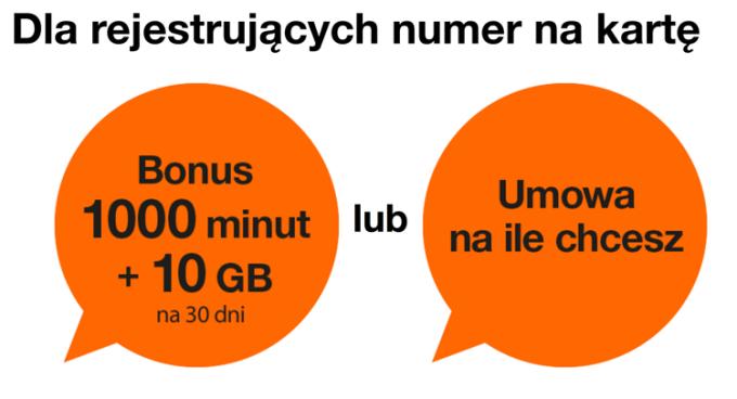 Oferta dla rejestrujących numer na karte w Orange