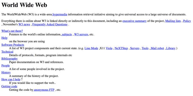 Pierwsza strona WWW, która została opublikowana w Internecie (6.08.1991)