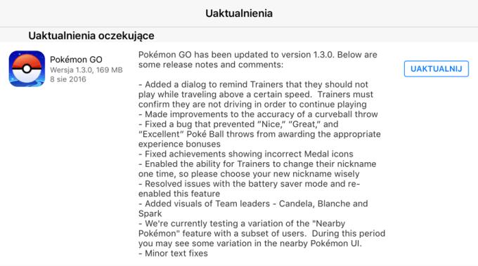 Uaktualnienie Pokemon GO (wersja 1.3.0 na iOS i 0.33.0 na Androida)