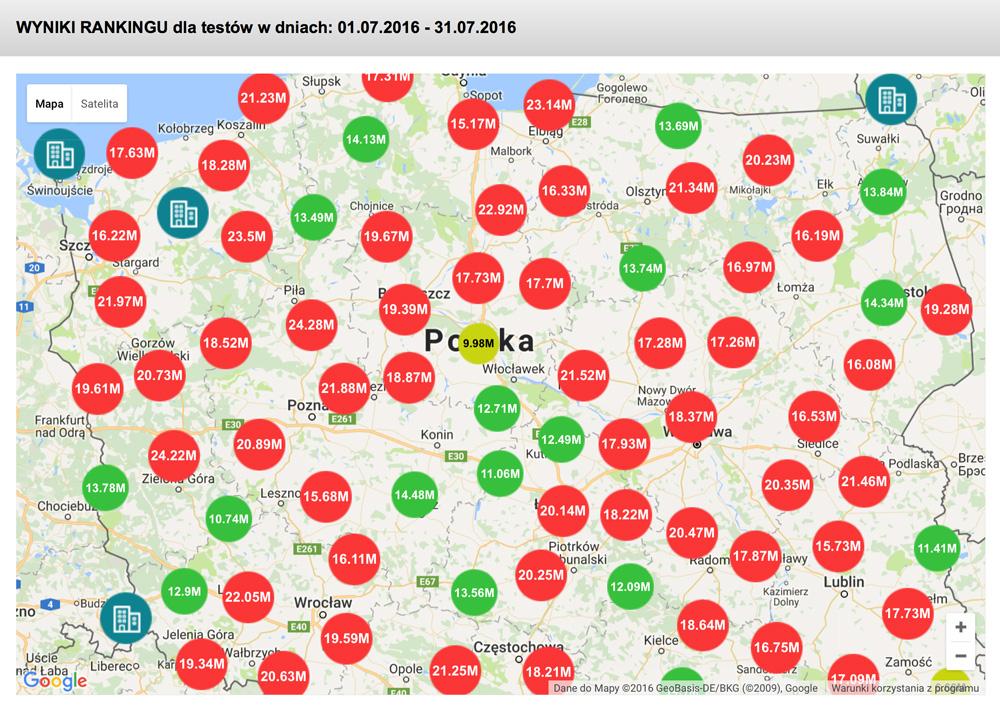 Prędkość internetu mobilnego w lipcu 2016 r. (mapa Polski)