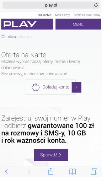 Strona WWW Play na smartfony (screen) - przyciski...
