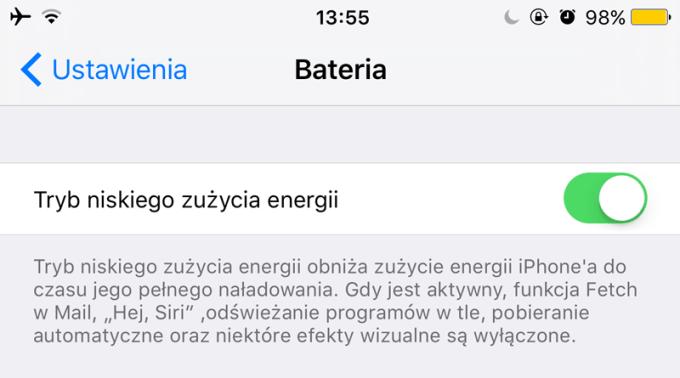 Tryb niskiego zużycia energii iOS