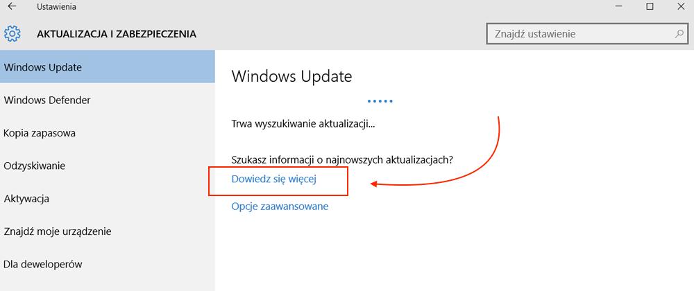 Wyszukiwanie najnowszych aktualizacji systemu Windows