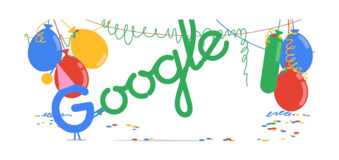 18. urodziny wyszukiwarki Google (27.09.2016 - google doodle screen)