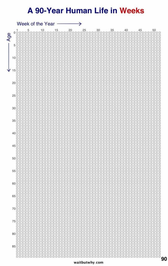 90 lat - wizualizacja liczby tygodni