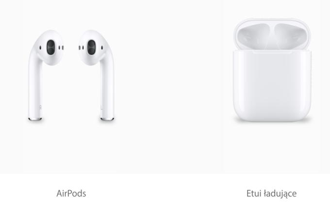 Bezprzewodowe słuchawki AirPods i etui ładujące