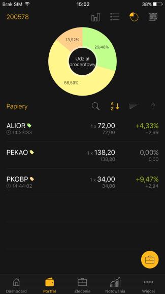 Screen aplikacji mobilnej Alior Giełda