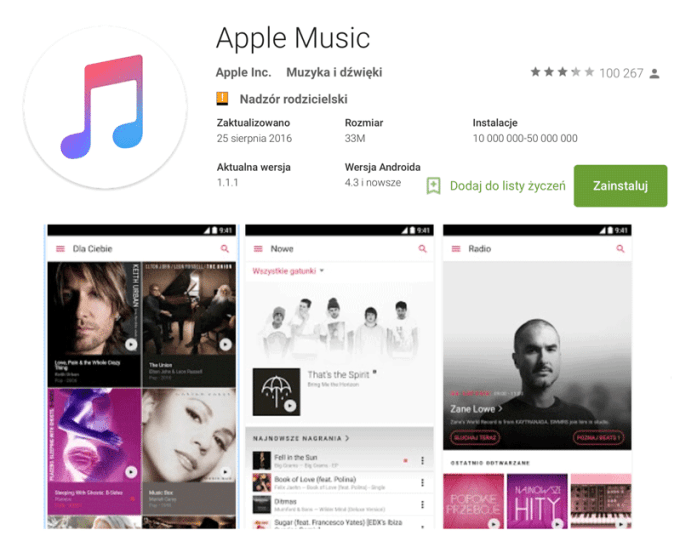 Apple Music na Androida pobrano 10 mln razy