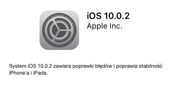 iOS 10.0.2 - update w trybie OTA
