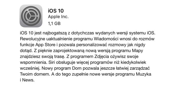 Lista zmian uaktualnienia systemu iOS 10 (tryb OTA)