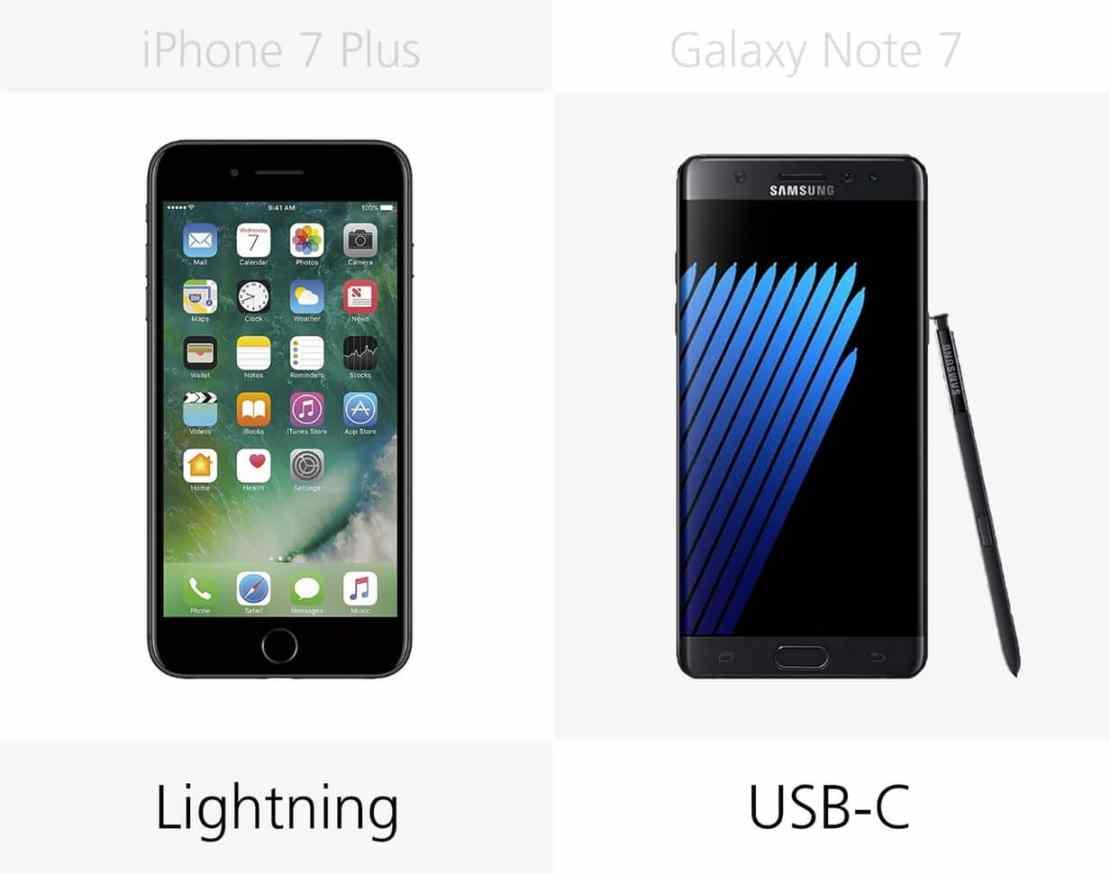 Kabel ładowania: iPhone 7 Plus vs. Galaxy Note 7