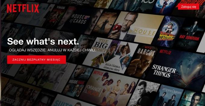Polskojęzyczna wersja strony WWW Netflix.pl