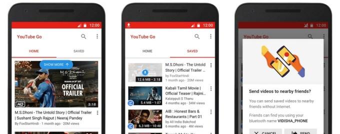 Aplikacja YouTube Go - screeny