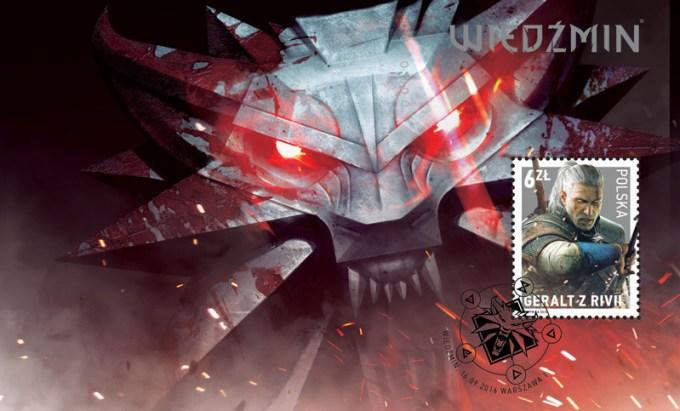 Znaczek pocztowy z Wiedźminem (źródło: Poczta Polska)