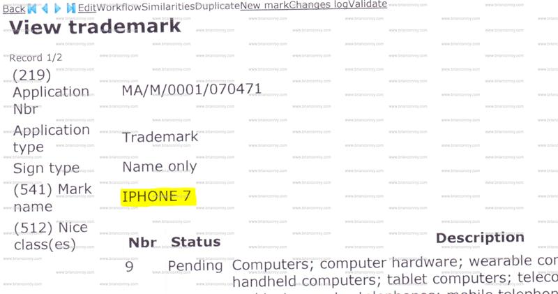 Znak towarowy iPhone 7 (Apple trademark)