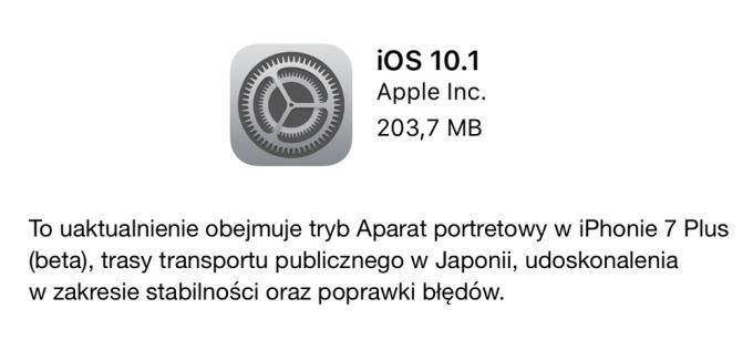 Uaktualnienie iOS 10.1