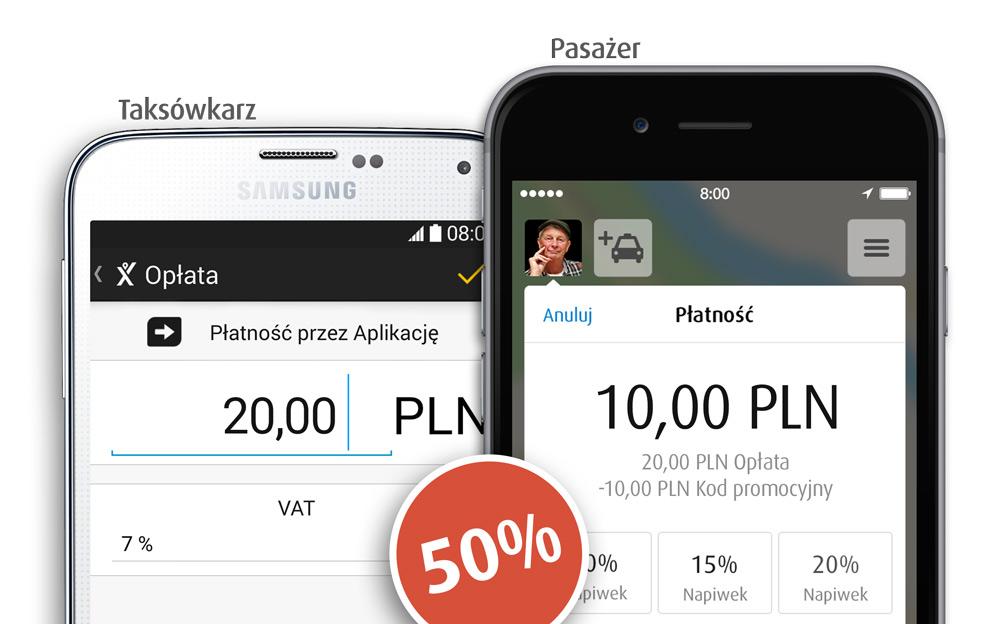 Płatność przez aplikację myTaxi 50% taniej