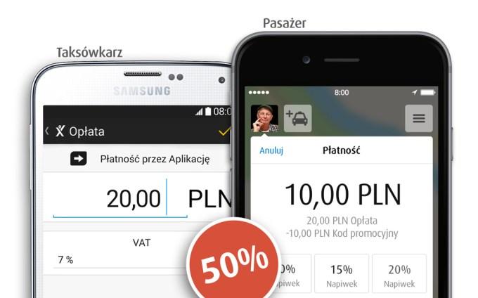Płatnosc przez aplikację myTaxi 50% taniej (listopad 2016)