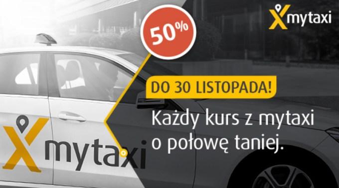 Promocja 50% na przejazdy myTaxi przez cały listopad 2016 r.