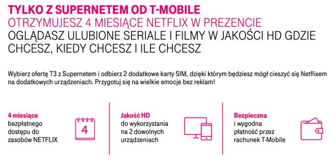 Netflix w T-Mobile na 4 miesiące za darmo z Supernetem
