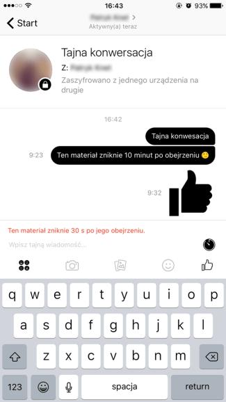 Pisanie zaszyfrowanych wiadomości na Fb Messengerze