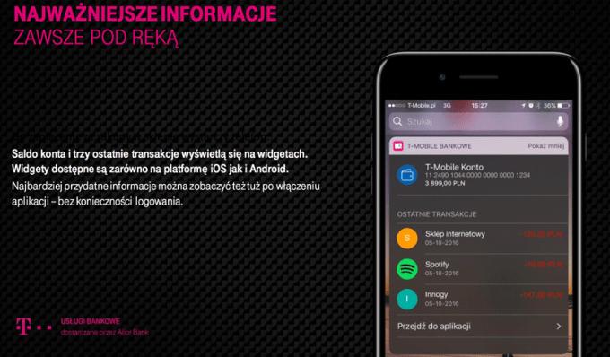 Widgety w nowej aplikacji bankowości mobilnej T-Mobile Usługi Bankowe