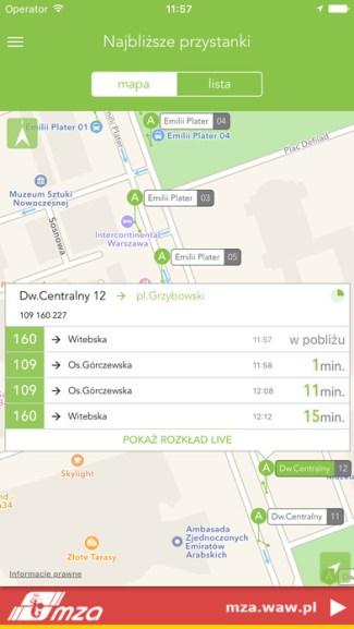 Screen aplikacji TramBus (iOS)