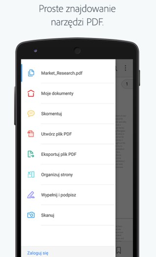 Adobe Acrobat Reader - screen aplikacji mobilnej