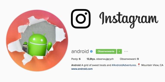 Konto Androida na Instagramie