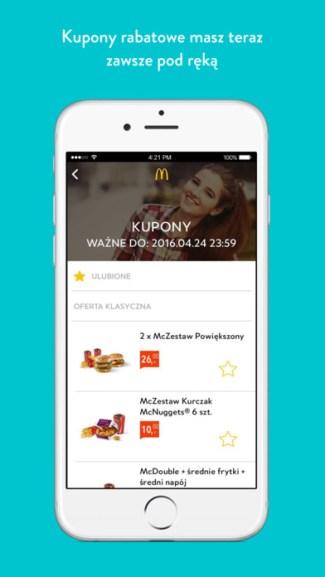 McDonalds mobile app PL - kupony rabatowe