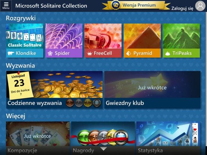 Ekran główny gry Microsoft Solitaire (Pasjans) iOS