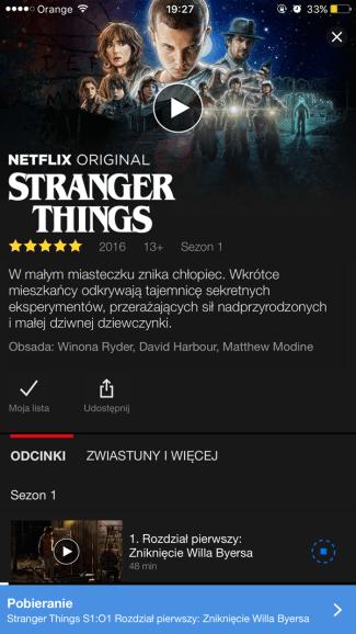 Pobieranie serialu do trybu offline w Netflixie