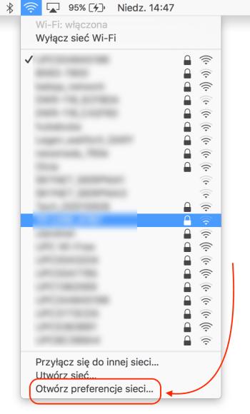 Preferencje sieci Wi-Fi na Macbooku Pro