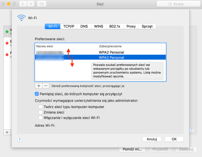 Zmiana kolejności zapamiętanych sieci na komputerze Mac - priorytetyzacja