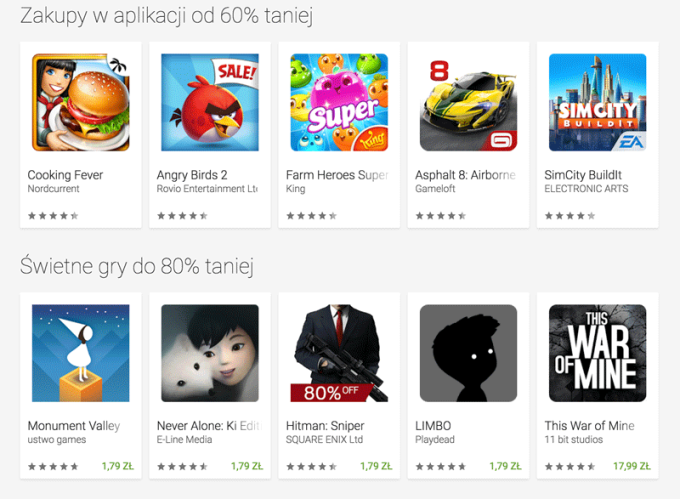 Przykładowe tytuły dostepne w promocji w ramach Cyber Week w Google Play