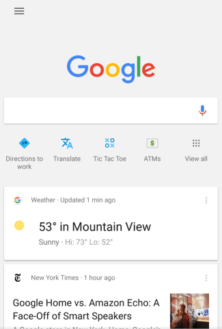 Ikony skrótów pod paskiem wyszukiwania w mobilnej wyszukiwarce Google (screen)