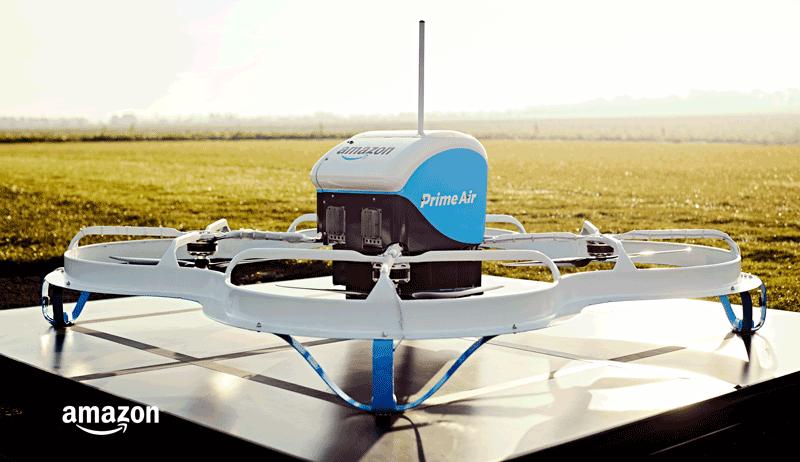 Dron Amazon prime Air - pierwsza dostawa dronem