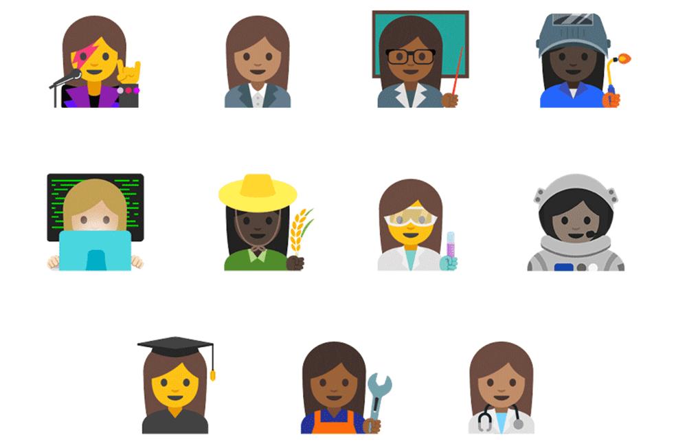 Emotikony z zawodami kobiet na Androida 7.1.1