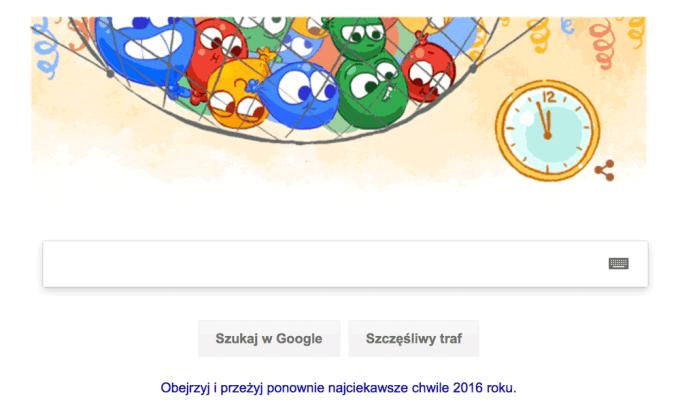 Google Doodle - Sylwester 2016 r.