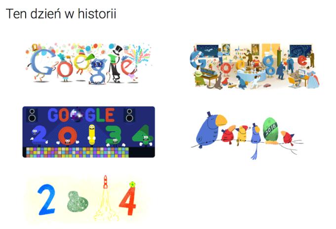 Historyczne animacje sylwestrowych Google Doodle