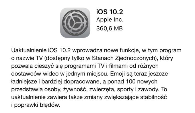 iOS 10.2 dostępny do pobrania w trybie OTA - lista zmian i nowości